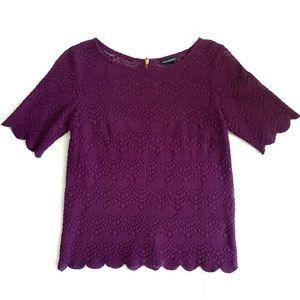 Club Monaco Purple Lace Scallop Top